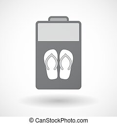 Isolated battery icon with   a pair of flops