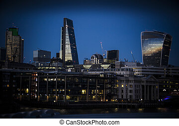 London Blackfriars seen from across the Thames as night...