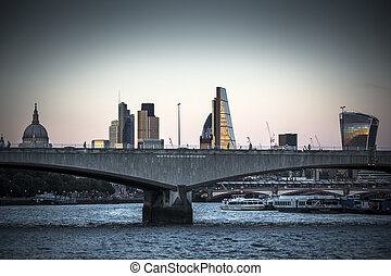 Night starts to fall over Waterloo Bridge London - Series of...