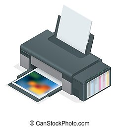Photo inkjet printer. Color printer prints photo on white...