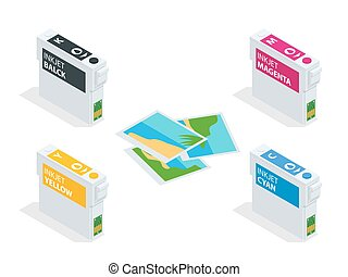 Isometric CMYK set of cartridges for ink jet printer and...