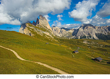 Seceda peak, Odle mountain range, Gardena Valley, Dolomites,...