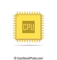 Chip icon. Vector illustration. - Yellow chip icon in flat...