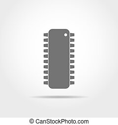 Chip icon. Vector illustration. - Gray chip icon in flat...