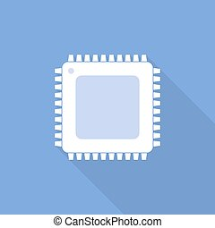 Chip icon. Vector illustration. - White chip icon in flat...