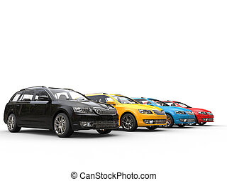Row of colorful family cars