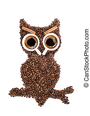 Positive owl, made of coffee beans and two cups eyes with...