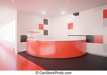 Red office lobby - Modern red room with reception desk....