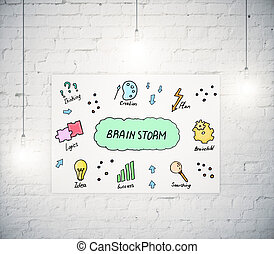 Brain storm concept - White banner with creative sketch on...