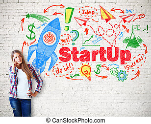 Start up concept - Thinking caucasian girl with creative...