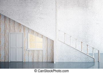 Aged loft interior - Side view of modern aged wooden...