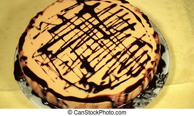 Pumpkin cake covered with chocolate icing - Delicious...