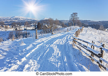 Winter landscape with the road