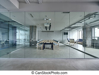 Interior in loft style - Office in a loft style with white...