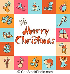 Christmas greeting card. A set of images for Xmas