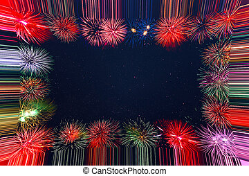 Beautiful celebration holiday fireworks frame
