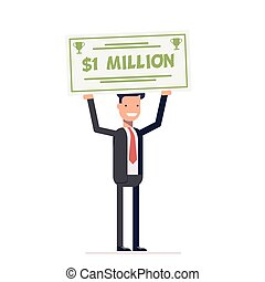 Happy businessman or manager holding large check of one million dollar in hands. Smiling man. Vector, illustration EPS10.