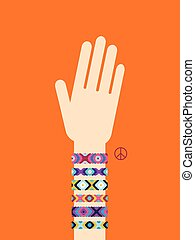 Hand with hippy friendship bracelets. Poster