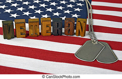 veteran dog tags on flag - military dog tags on flag with...