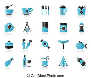 Different king of food and drinks icons 1