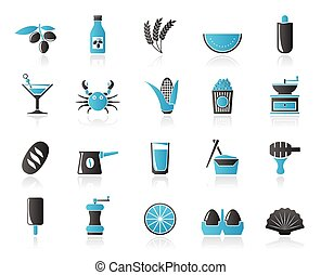 Different king of food and drinks icons 3