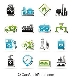 Natural gas fuel and energy industry icons - vector icon set...