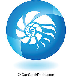 Nautilus Shell web button isolated on a background