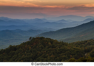 Fall in Great Smoky Mountains National Park - Sunset at Look...