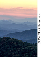 Fall in Great Smoky Mountains National Park - Sunset at...