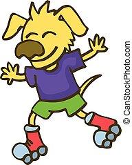 Dog playing roller skates cartoon vector illustration