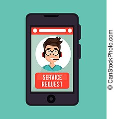 guy operator call center service request online vector...