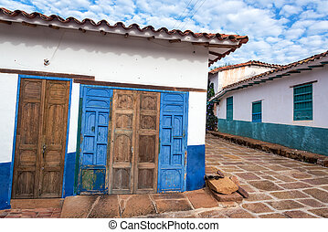 Old Rustic Doors and Colonial Architecture - Old rustic...