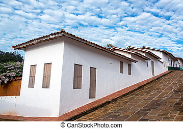Colonial Architecture and Sky - White colonial architecture...