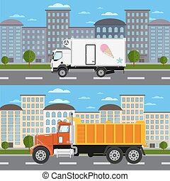 Commercial truck on road in city