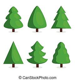 Green Christmas tree set in cartoon style