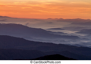 Fall in Great Smoky Mountains National Park - Hazy mountain...