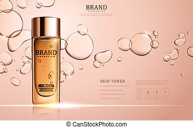Skin toner ads template, glass bottle mockup for ads or...