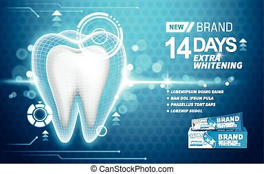 whitening toothpaste ad, on turquoise background, 3d...
