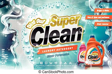 Laundry detergent ad, new formula antibacterial, turquoise...