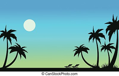 Beautiful beach scenery of silhouettes vector illustration