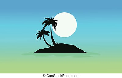 Blue sky scenery with island silhouettes vector illustration