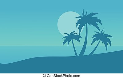 Silhouette of beach and palm on blue backgrounds