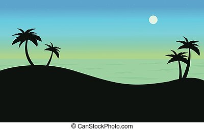 Silhouette of palm on seaside scenery vector illustration