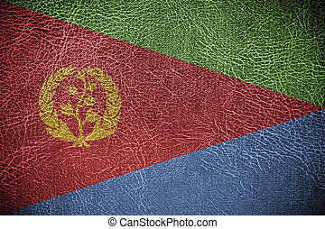 Eritrea Flag painted on leather texture