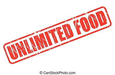 UNLIMITED FOOD red stamp text on white