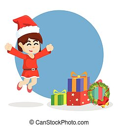 girl jumping to christmas box