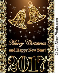 Happy new year 2017 banner with golden xmas bells, vector illustration