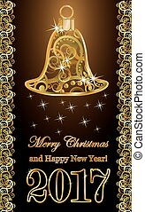 Golden new 2017 year with xmas bell, vector illustration