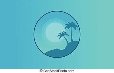 Silhouette of palm on hill seaside landscape vector