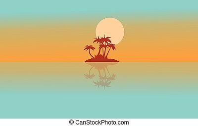 Landscape island with reflection silhouettes - Landscape...